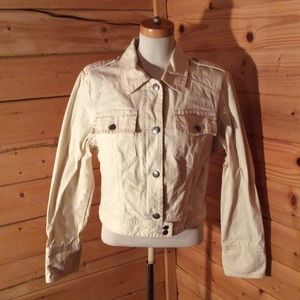 American Eagle Outfitters Denim Jacket Cream XL